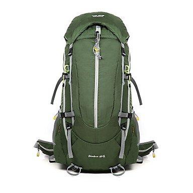 BBYaKi 65 L Sac À Dos De Randonnée Escalade Sport De Détente Camping & Randonnée Etanche Vestimentaire Respirable Multifonctionnel , Green
