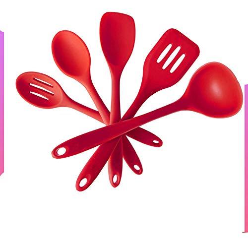 GUCAEN 5 pz/Lotto Cucina in Silicone Set di Utensili da Cucina Cucchiaio Strumenti spatola zuppa mestolo Gadget scanalato Turner Pala Skimmer Utensili