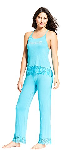 bebe Womens Lace Trim Tank Top Elastic Waist Pajama Pants Set Midnight Turquoise X-Large