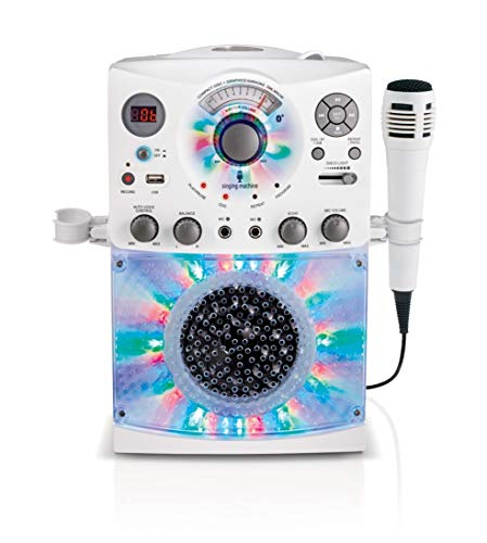 Singing Machine SML385UW Bluetooth Karaoke System with LED Disco Lights, CD+G, USB, and...