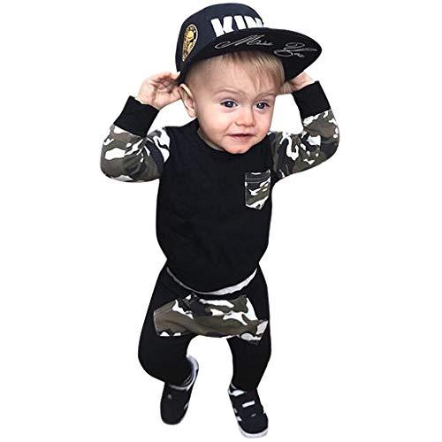 LEXUPE 2 stücke Kleinkind Jungen Mädchen Kleidung Set Camouflage Hoodie Tops + Hosen Outfits(B-Tarnen,90)