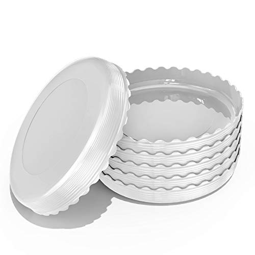 UPMCT 6 Pack Plant Saucer Flower Pot Drip Trays, 4 6 8 10 12 Inch Plant Pot Saucers for Indoor Outdoor, Thicker and Durable (4 Inch, White)