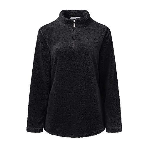 en Solde, Femmes Tops Chandail, Toamen Hauts Manches Longues Col montant d'hiver Zip Fleece Pullover Top Peluche Garder au chaud Sweat-shirt Hiver (S, Noir)