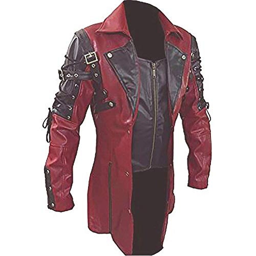 Mens Real Leather Goth Matrix Trench Coat Sexy Stylish Steampunk Jacket (Black & Red) - (Large)