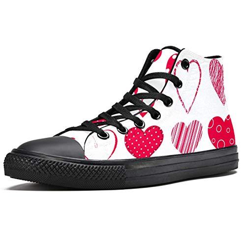Anmarco rojo corazones alta superior zapatillas de deporte moda encaje hasta lona zapatos casual escuela caminar zapatos para hombres adolescentes niños, color Multicolor, talla 37 1/3 EU