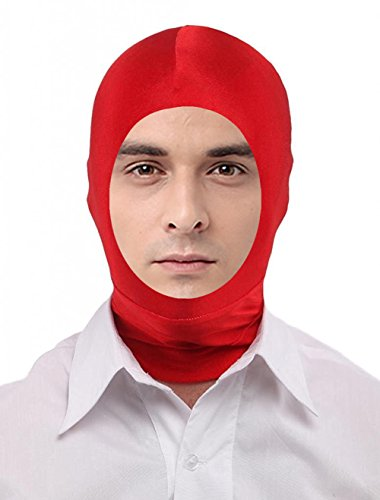 Seeksmile Unisex Spandex Full Cover Zentai Hood Mask (Adult Size, Red Open-Face)