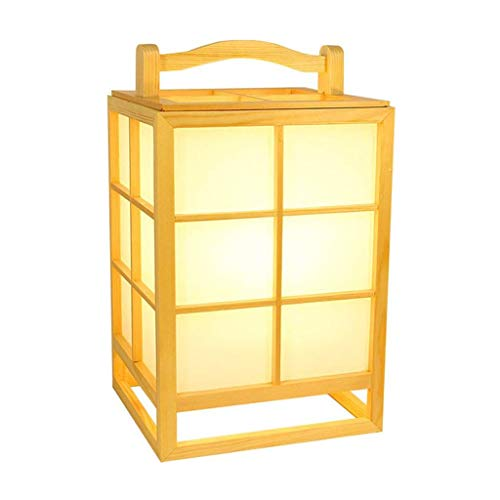Lámpara de mesita de noche Lámpara de mesa japonés lámpara de piso de madera de PVC imitación de pergamino lámpara de mesa lámpara ligera sombra interruptor de botón rectangular lámpara de pie lámpara