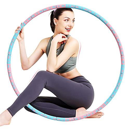 Hula Hoop Reifen Bauchtrainer Edelstahlkern Fitness 1-3 kg Schaumstoff 8-teilig Gewicht einstellbar Rosa-Grau