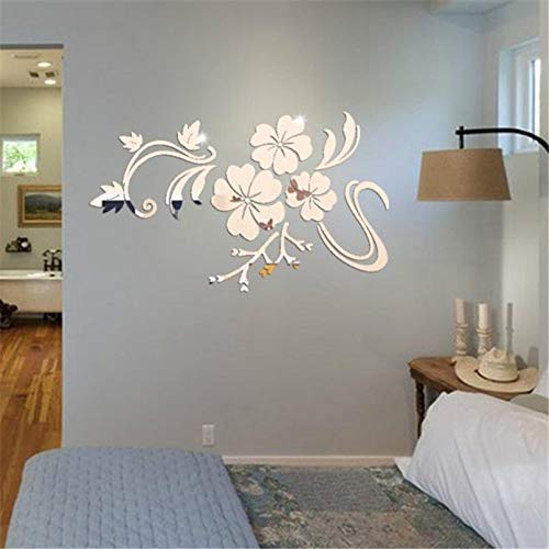 1Set Acrylic Art 3D Mirror Flower Wall Stickers DIY Home Wall Room Decals Decor Sofa TV Setting Wall Removable Wall Stickers 78X60cm (Sliver)