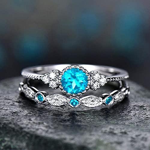 SONGK 2 unids/Set Anillos de Dedo de Cristal de Piedra Verde Azul de Lujo para Mujeres Bandas de Compromiso de Boda de Color Plateado Regalos de joyería