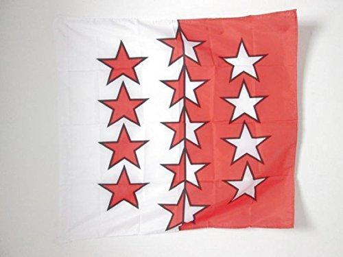 AZ FLAG Flagge Staat Wallis 90x90cm - KANTON VS Fahne 90 x 90 cm Scheide für Mast - flaggen Top Qualität