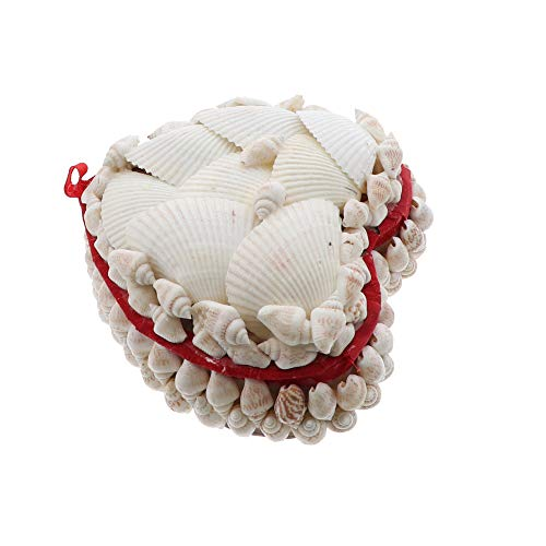 Li'Shay White Seashell Covered Jewelry Trinket Box Treasure Box - 4 Inch - Heart with Red Lining