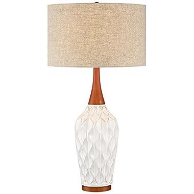 Rocco 30  High Mid-Century Modern White Ceramic Table Lamp