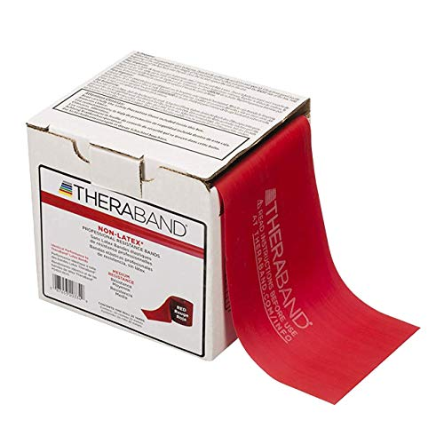 TheraBand Resistance Band 25 Yard Roll, Medium Red Non-Latex Professional Elastic Bands For Upper & Lower Body Exercise Workouts, Physical Therapy, Pilates, & Rehab, Dispenser Box, Beginner Level 3