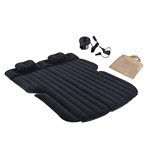 SUV Air Mattress, Thickened Car Bed Inflatable Car Mattress, Portable Inflatable Bed for Car with Electric Air Pump, Flocking Surface Camping Mattress (Black)