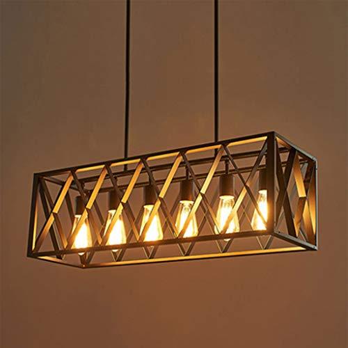 ZQH Led-kandelaar, retro-hanger, grote, industriële verlichting, hanglamp, zwart, metaal, vogelkooi, hanglamp voor café, restaurant keuken, plafondverlichting
