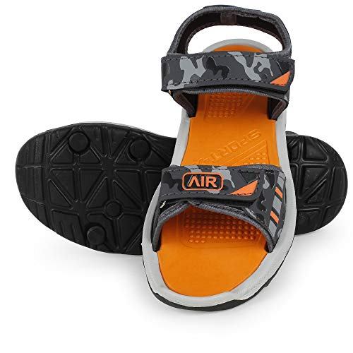 Creattoes Men & Boys Sandals, Casual Sandal, Walking, Lightweight Floaters Multi Color Orange