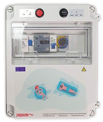 Swimhome Cuadro eléctrico diseñado para Piscinas con Clorador, con Guardamotor, Transformador 300W, Mando a Distancia para iluminación ON/Off (1 CV (4-6,4A))