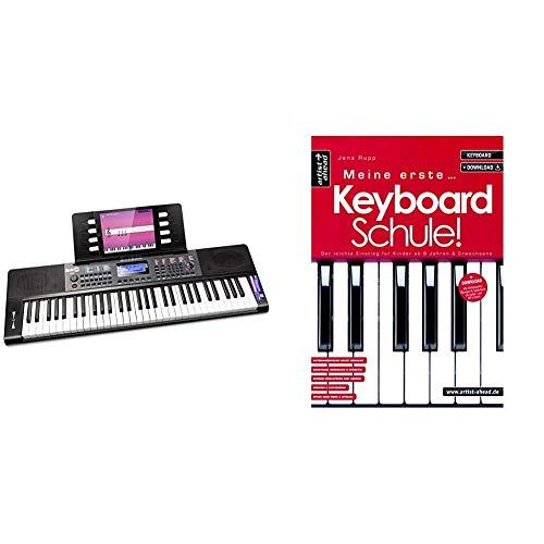 RockJam 61-Tasten-Tastatur Klavier mit Pitch-Bend-Notenständer Klaviers Aufkleber Stromversorgungsanwendung & Meine erste Keyboardschule! Der leichte Einstieg für Kinder ab 6 Jahren