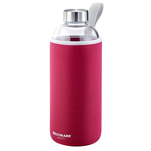 Westmark Gourde en Verre avec Imprimé, Protection Textile Incl., 1000 ml, Verre/Silicone/Caoutchouc, Sans BPA, Viva, Rouge/Argenté/Transparent, 5274226R