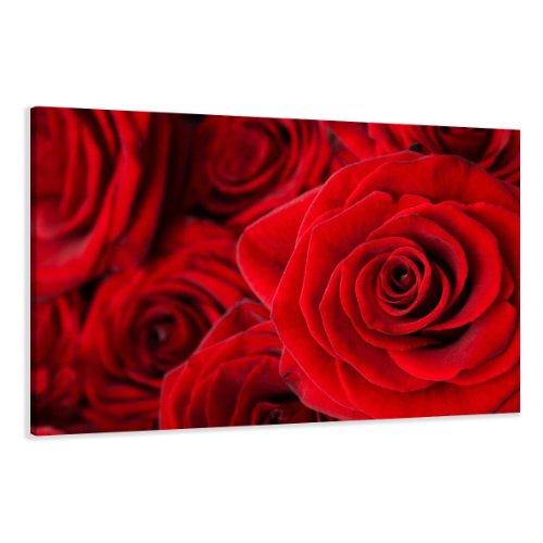 Bilder auf Leinwand Rose Rot 120 x 80 cm Modell-Nr. XXL 5058 Bild fertig gerahmtauf echtem Holzrahmen riesig. Ausführung Kunstdruck als Wandbild auf Rahmen. Günstiger als Ölbild Gemälde Poster Plakat mit Bilderrahmen