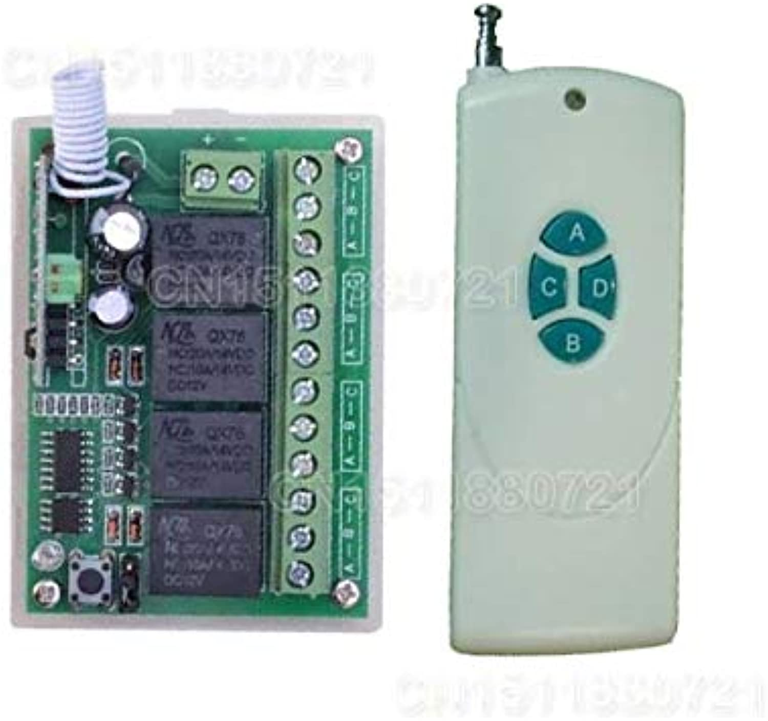 12V 4CH 1000M Wireless Remote Control Relay Switch Transceiver with Receiver Compatible with 2262 2260 1527 2240
