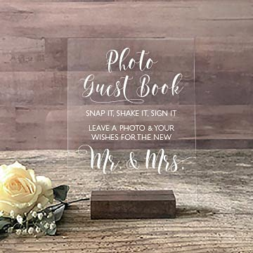Wedding Courier shipping free Photo Booth Sign Guest Sign-in Translated Book Acrylic