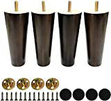 """Wooden Round Furniture Legs Set of 4 Mid-Century Modern Sofa Couch Bed Coffee Chair Desk Table Feet Legs with Pre-Drilled 5/16 Inch Bolt& Screws& Rubber Pads (6""""(15cm), Walnut)"""