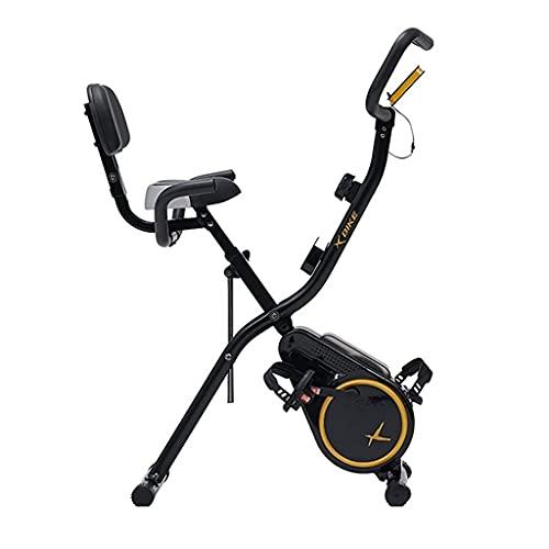 Bicicleta Estática con Control Magnético Bicicleta Interior Plegable Silenciosa Dos Modos De Conducción Ajuste De Resistencia De 12 Velocidades (Color : Black, Size : 112 * 53 * 95cm)