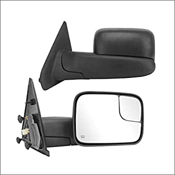 Perfit Zone TOWING MIRROR Replacement Fit For 2002-2009 RAM PAIR POWERED HEATED Without SIGNAL BLACK