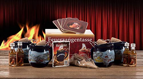 Feuerzangentasse 4er-Set, blau - Winter - premium