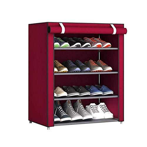 BBGSFDC Zapatero, de múltiples Capas de Zapatos de Almacenamiento en Rack, Oxford Tela Cubierta de Polvo, Puede acomodar 9/12 Pares de Zapatos, Ahorrar Espacio, Rojas, 4 Plantas (Size : 4 Floors)