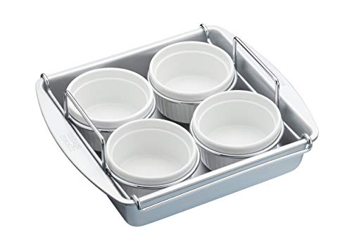 Chicago Metallic Professional Creme Brulee Set with Ramekin Dishes and Baking Tin, In Gift Box, Carbon Steel / Ceramic, 6 Pieces