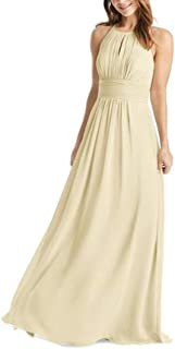 JONLYC Women's A-Line Chiffon Long Bridesmaid Dresses Prom Evening Gowns