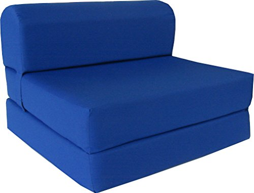 """D&D Futon Furniture Royal Blue Sleeper Chair Folding Foam Bed Sized 6"""" Thick X 32"""" Wide X 70"""" Long, Studio Guest Foldable Chair Beds, Foam Sofa, Couch, High Density Foam 1.8 Pounds."""