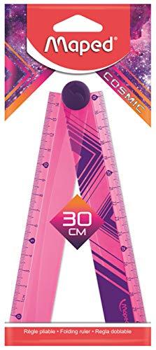 Maped - Règle pliable 2 en 1 - Règle 30cm et Règle 15cm - Règle en Plastique Flexible - Décors Cosmic Rose/Violet