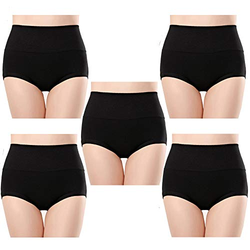 Anntry Ropa Interior de algodón Confort para Mujer de 5 Calzones de Cintura Alta Controlar de la Panza Bragas de Estiramiento de Las señoras (Negro-1, XXL) 🔥