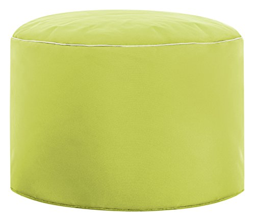 Gouchee Home Brava Pouf Collection Contemporary Polyester Upholstered Round Pouf/Ottoman, Lime Green
