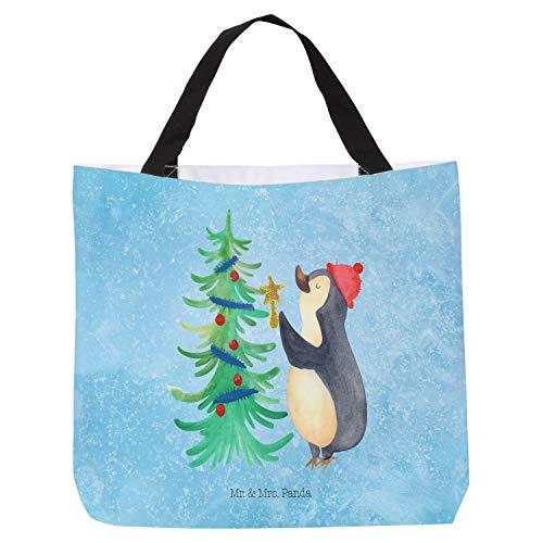 Mr. & Mrs. Panda Strandtasche, Tasche, Shopper Pinguin Weihnachtsbaum - Farbe Eisblau
