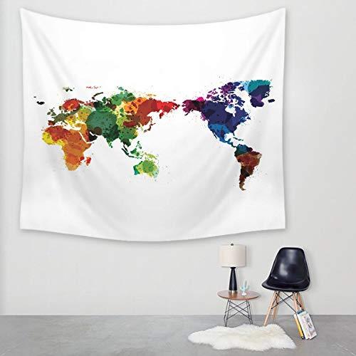Wandtapijten, Aquarel Wereld Kaart, Boheemse Hippie Minimalistische Spirituele Moderne Print Stof,Grote Grootte Decoratieve Art Doek Voor Woonkamer Slaapkamer 200 × 150 cm
