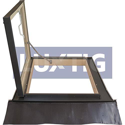 Lucernario per Tetto a Libro Finestra per Mansarda Skylight Laterale in Legno Alluminio Apertura Laterale per Uscita. Abbaino Certificato. Doppio Vetro per Isolamento Luxtig Dimensione Misura cm 78X98