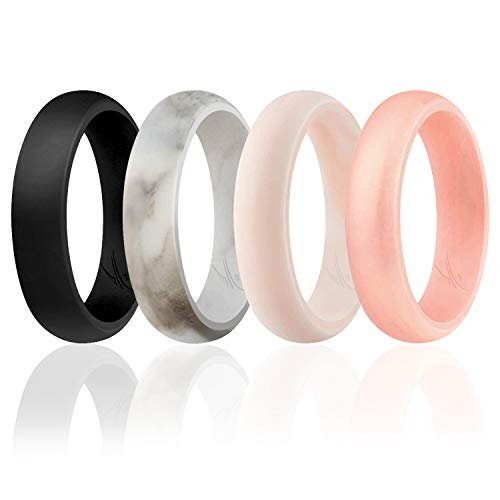 ROQ Silicone Wedding Ring For Women, Set of 4 Silicone Rubber Wedding Bands - White-Black Marble, White-Rose Gold marble - Size 10