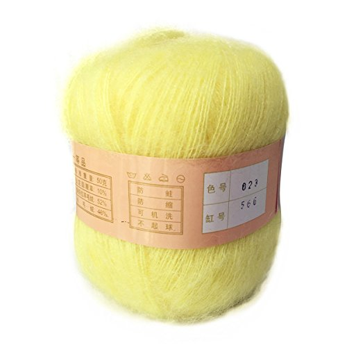 Artilin One Skein Soft&Warm Angola Mohair Cashmere Wool Knitting Yarn 50g,Light Yellow