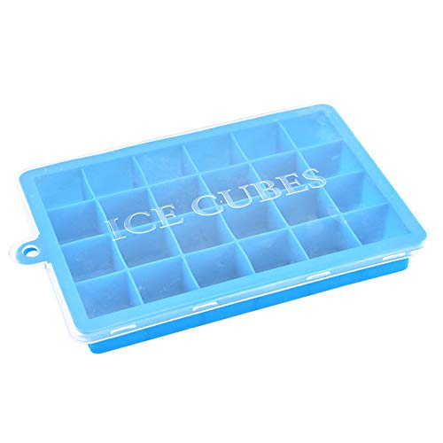 Silicone Ice Maker, 24-Cube Ice Tray Ice Mold Storage Container Tray With Lid Easy-Release Flexible Ice Cube Molds 24 Cubes per Tray for Cocktail, Whiskey, Baby Food, Chocolate, BPA Free
