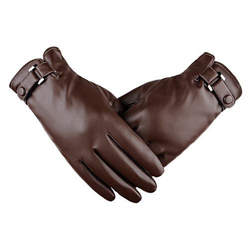 Thermo-handschoenen voor de winter, touchscreen, van PU-leer, voor heren, met wol, winddicht, winddicht