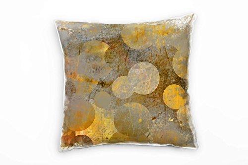 Paul Sinus Art Abstrakt, Gold, braun, Kreise Deko Kissen 40x40cm für Couch Sofa Lounge Zierkissen - Dekoration zum Wohlfühlen