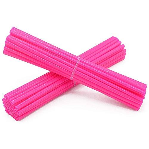 Super Pop Bicycle Spoke Skins Wraps-Best Gift for Kids&Schoolmate&Bike Fans- Colorful Bike Wheel Decoration-72 Pcs(Pink)