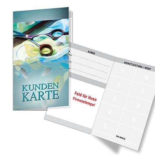 200 Bonuskarten/Kundenkarten mit 9 Feldern, für Friseurgeschäft Friseur Friseursalon. Praktisches Scheckkartenformat. Außenseiten glänzend. K550