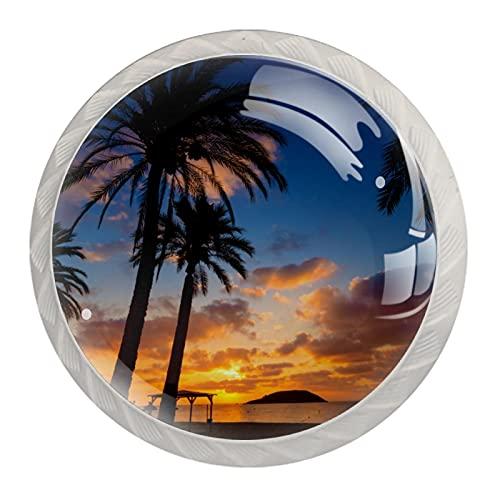 LXYDD Tiradores de cajón Tiradores de Armario Paquete Redondo de 4 perillas para cajones,Mallorca Amanecer en Magaluf Palm anova BEA