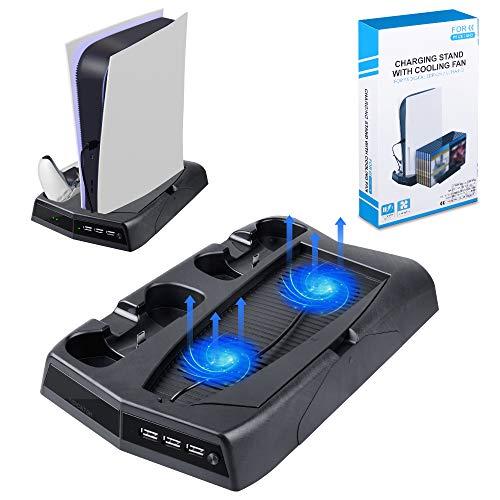Soporte Vertical para Controlador para Sony Playstation 5 / PS5, Consola, Consola de Edición Digital, Estación de Carga con 2 Ventiladores, Cartucho de Juego Retráctil para Tarjetas de Juego PS5